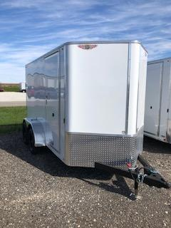 2021 H&H 6x12 WHITE FLAT TOP V-NOSE TANDEM AXLE CARGO TRAILER