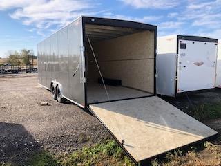 2021 H&H Charcoal 8.5x28 Tandem Flat Top V-Nose Enclosed Cargo Trailer