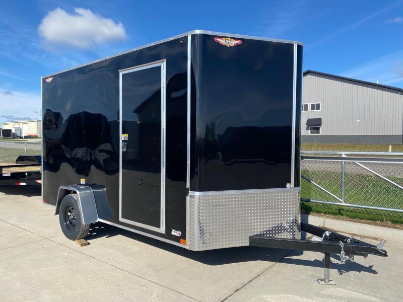 2022 H&H Black 7x12 3K Flat Top V-Nose Enclosed Cargo Trailer