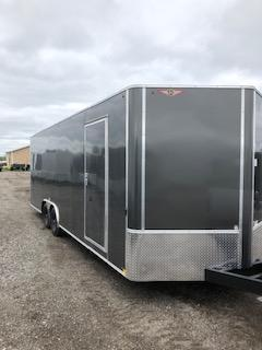 2021 H&H 8.5X20 CHARCOAL FLAT TOP V-NOSE 10K ENCLOSED CAR HAULER