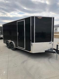 2021 H&H 8x16 BLACK TANDEM FLAT TOP V-NOSE 7K CARGO TRAILER