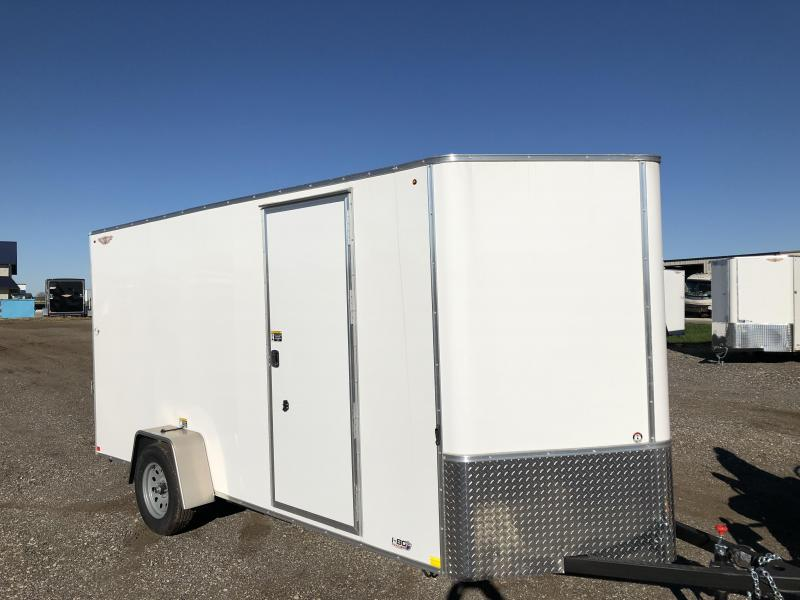 2021 H&H WHITE 6X14 SINGLE AXLE FLAT TOP V-NOSE ENCLOSED TRAILER