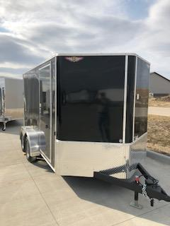 2021 H AND H BLACK 7X12 TANDEM FLAT TOP V-NOSE 7K CARGO TRAILER