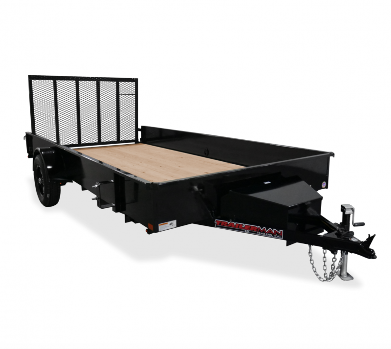 2021 TRAILERMAN BLACK 76X12 SINGLE AXLE SOLID SIDE UTILITY TRAILER