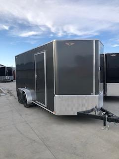 2021 H&H 7x20 CHARCOAL FLAT TOP V-NOSE TANDEM AXLE CARGO TRAILER