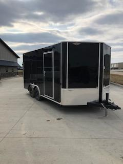 2021 H&H BLACK 8.5X16 TANDEM FLAT TOP V-NOSE 10K CARGO TRAILER
