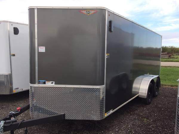 2021 H&H CHARCOAL 7x16 FLAT TOP V-NOSE TANDEM CARGO TRAILER