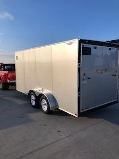 2021 H&H 8X16 SILVER MIST FLAT TOP V-NOSE ENCLOSED CARGO TRAILER WITH 5.2K AXLES