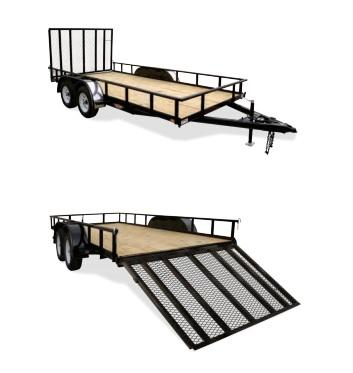 2020 H&H BLACK 82X18 STEEL RAIL SIDE TANDEM 7K TRAILER