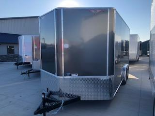 2021 H AND H 8X16 CHARCOAL FLAT TOP V-NOSE ENCLOSED CARGO TRAILER WITH 5.2K AXLES