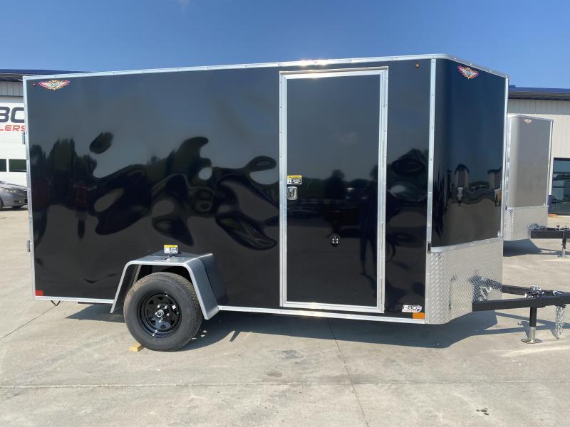2022 H&H Black 6x14 Single Axle Flat Top V-Nose Enclosed Cargo Trailer