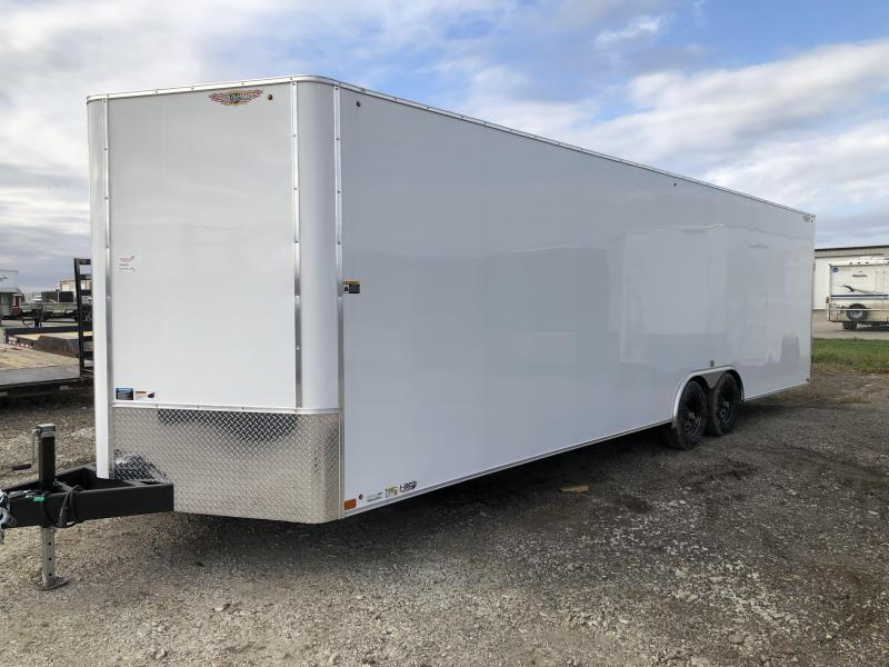 2022 H&H Trailers White 8.5x28 10k Flat Top V-Nose Enclosed Cargo Trailer
