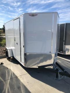 2021 H&H WHITE 6x12 FLAT TOP V-NOSE 3K CARGO TRAILER