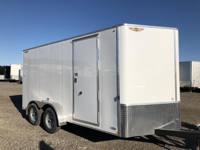 2021 H&H 7x16 WHITE 7X16 FLAT TOP V-NOSE TANDEM AXLE CARGO TRAILER