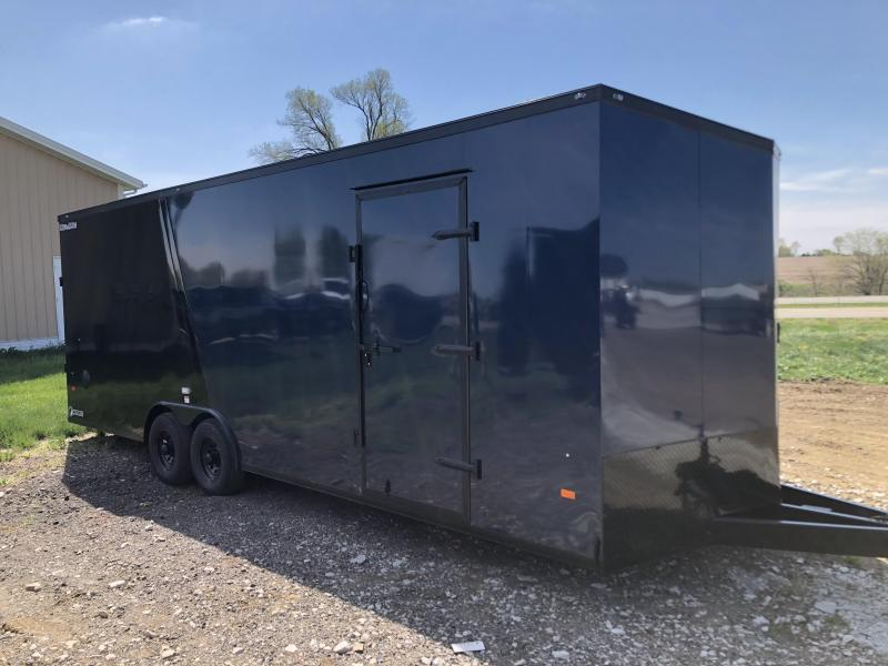 2021 HAUL-ABOUT COUGAR BLUE/BLACK 8.5X24 TANDEM FLAT TOP V-NOSE ENCLOSED CARGO TRAILER