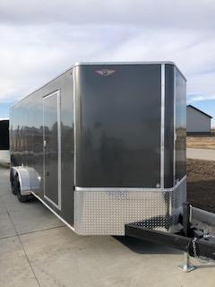 2021 H&H CHARCOAL 8.5X20 TANDEM FLAT TOP V-NOSE ENCLOSED CARGO TRAILER