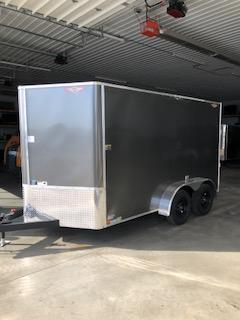 2021 H AND H CHARCOAL 7X12 TANDEM FLAT TOP V-NOSE 7K CARGO TRAILER