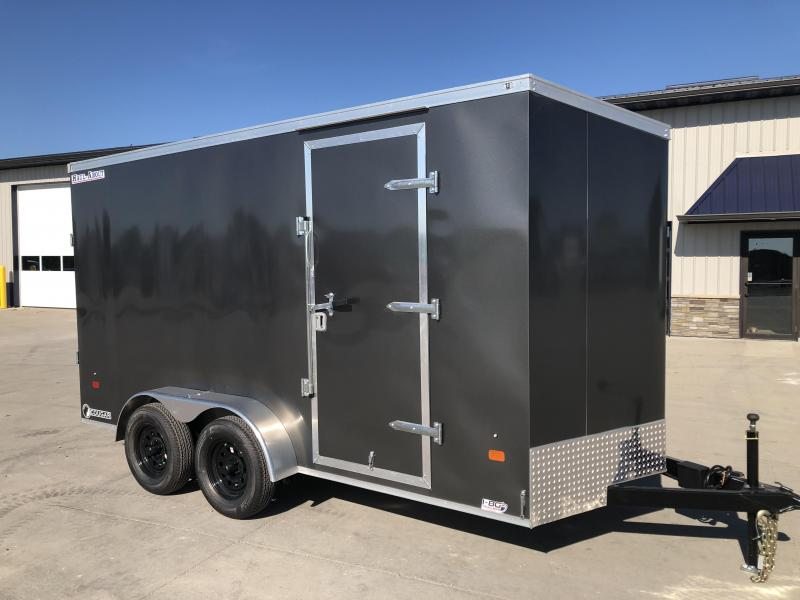 2022 HAUL-ABOUT COUGAR CHARCOAL 7X14 7K TANDEM FLAT TOP V-NOSE ENCLOSED CARGO TRAILER