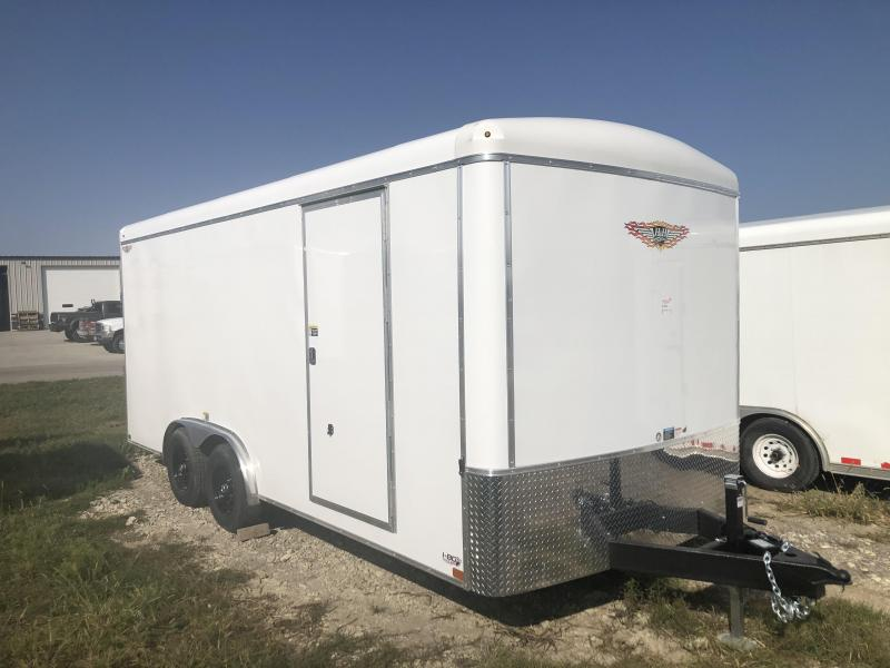 2020 H and H Trailer 8X18 WHITE ROUND TOP ROUND NOSE ENCLOSED CARGO TRAILER WITH 5.2K AXLES