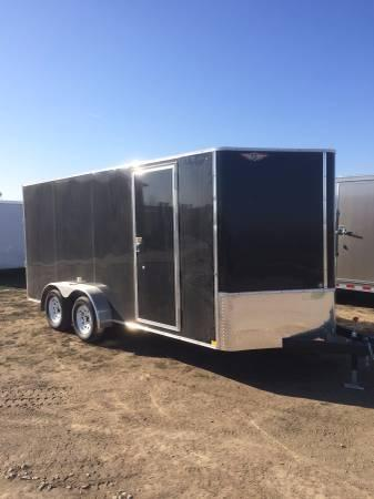 2021 H AND H 7x16 BLACK FLAT TOP V-NOSE 7K CARGO TRAILER