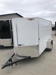 2021 H&H 5x10 WHITE SINGLE FLAT TOP V-NOSE 3.5K CARGO TRAILER