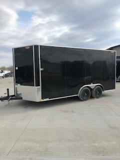 2021 H&H 8.5x16 BLACK FLAT TOP V-NOSE 7K CARGO TRAILER