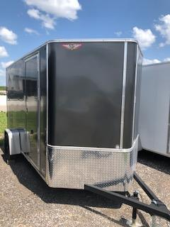 2020 H&H 7'x12' CHARCOAL  SINGLE FLAT TOP V-NOSE ENCLOSED CARGO TRAILER WITH BARN DOORS