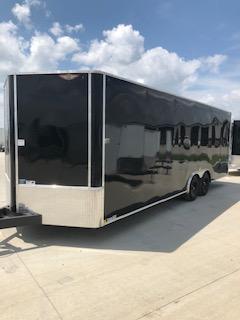2021 H&H Black 8.5x24 Tandem Flat Top V-Nose Enclosed Cargo Trailer