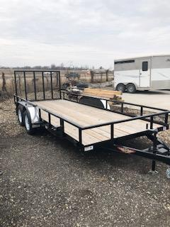 "2020 H&H BLACK 82""X18' STEEL RAIL SIDE TANDEM 7K TRAILER"