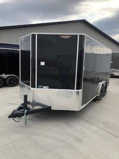 2021 H AND H 8X16 BLACK FLAT TOP V-NOSE ENCLOSED CARGO TRAILER WITH 5.2K AXLES