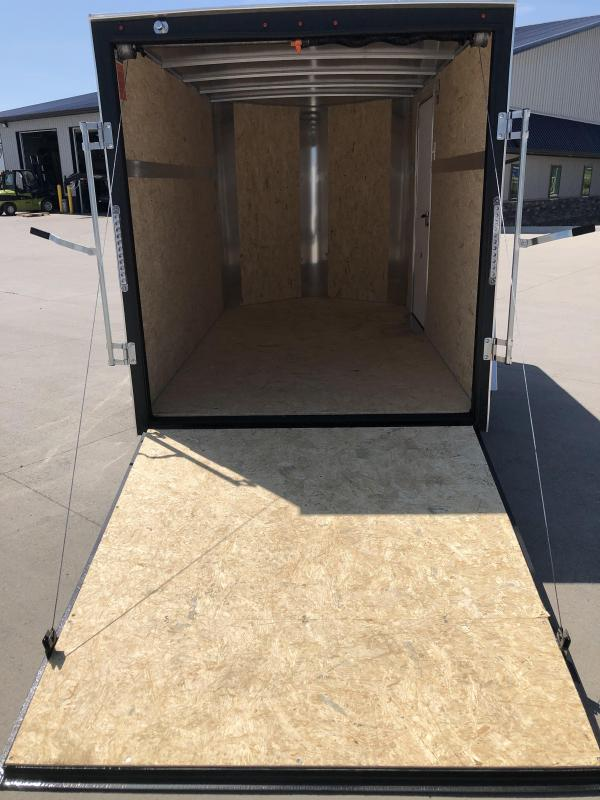 2022 H&H Charcoal 5X10 Single Axle Flat Top V-Nose Enclosed Trailer