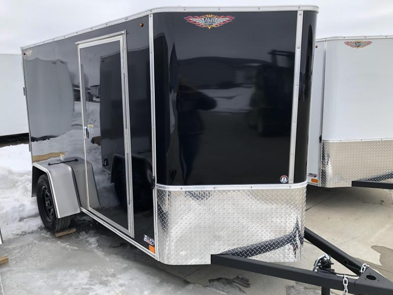 2021 H&H 5x10 BLACK SINGLE FLAT TOP V-NOSE 3K CARGO TRAILER