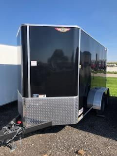 2021 H&H 5x10 BLACK SINGLE FLAT TOP V-NOSE 3.5K CARGO TRAILER