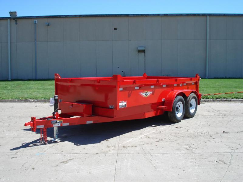 "2021 H AND H 83""x14' RED DBW DUMP BOX WITH 7K AXLES"