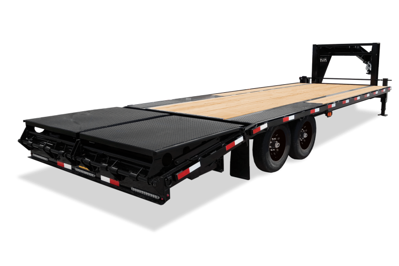 "2020 H&H 102""x 20'+5' GOOSENECK LOW PRO 7K AXLES DECKOVER EQUIPMENT TRAILER WITH SUPER DLX RAMPS"