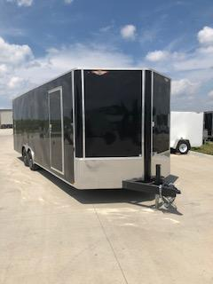 2021 H&H 101X24 BLACK FLAT TOP V-NOSE 10K ENCLOSED CAR HAULER