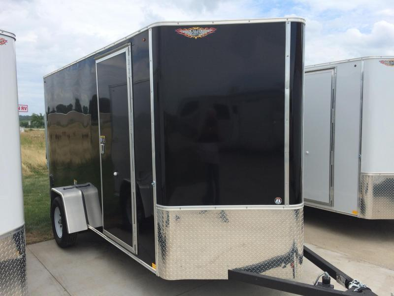 2021 H&H BLACK 7x12 FLAT TOP V-NOSE SINGLE AXLE CARGO TRAILER