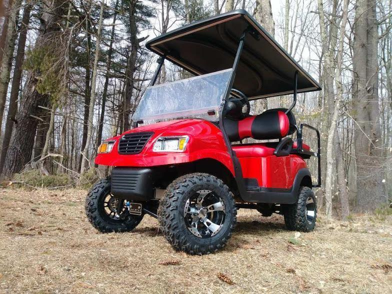 Custom Precedent Phantom Red 4 pass ELEC golf cart