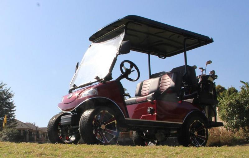 """New Evolution Classic 4 """"PLUS"""" STREET LEGAL 25MPH golf car CANDY APPLE RED"""