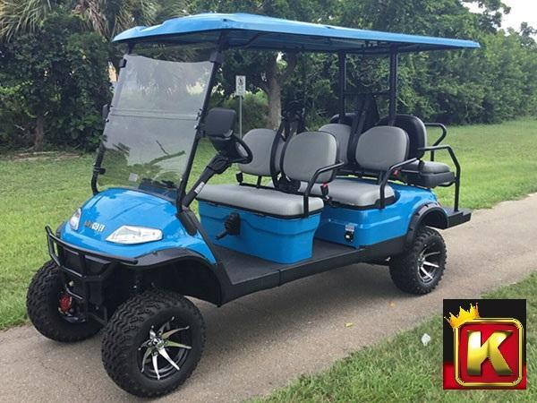 2021 Advanced EV LUXURY 48 Volt 6 PASS LIFTED golf cart limo-Sky Blue  (compare to ICON i60L)
