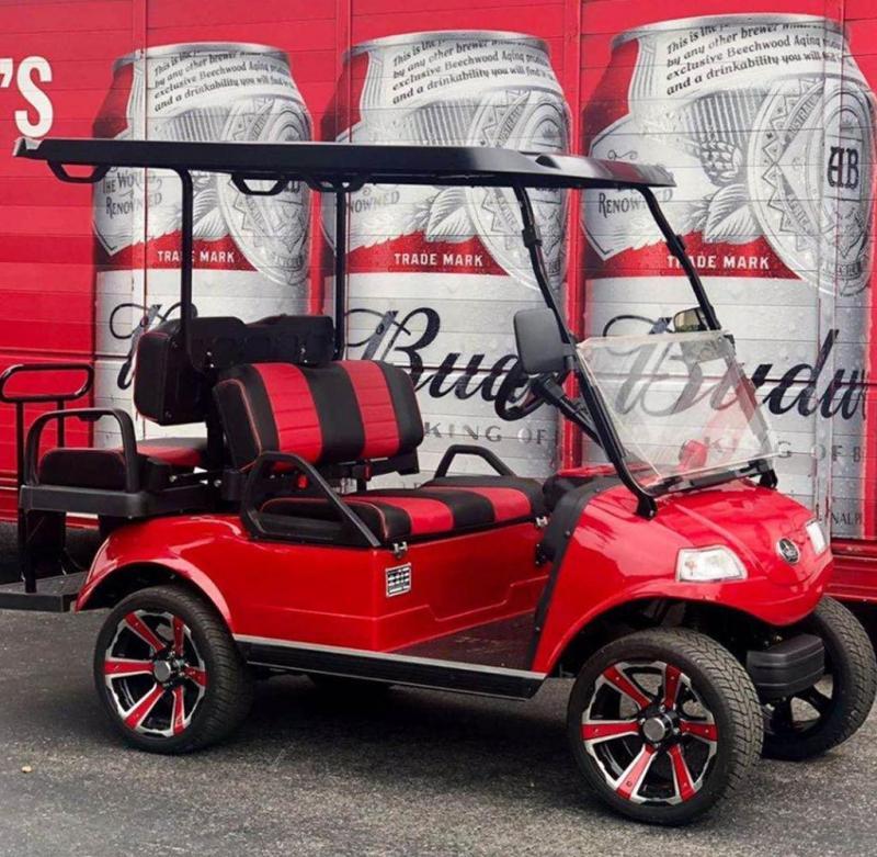"New Evolution Classic 4 ""PLUS"" STREET LEGAL LSV 25MPH golf car RED"