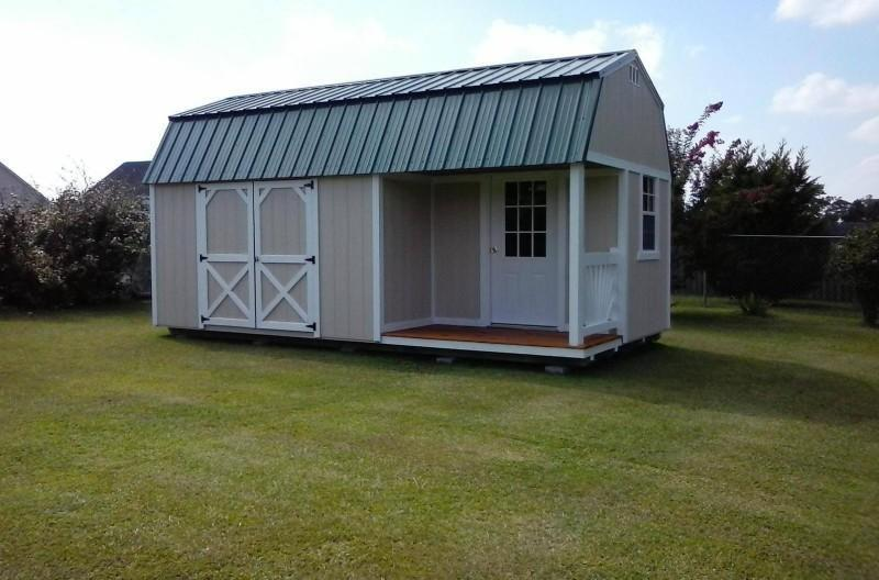 Brand New Old Hickory Lofted Barn with Side Porch 10' x 20'