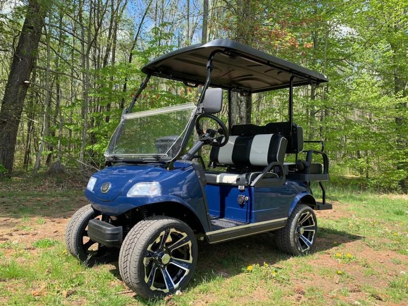 "New Evolution Classic 4 ""PLUS"" STREET LEGAL LSV 25MPH Lithium Powered golf car NAVY BLUE"