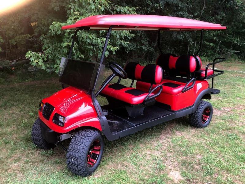 "CUSTOM Club Car Precedent Metallic RED Phantom 6 pass ELECTRIC LIMO 6"" LIFT"