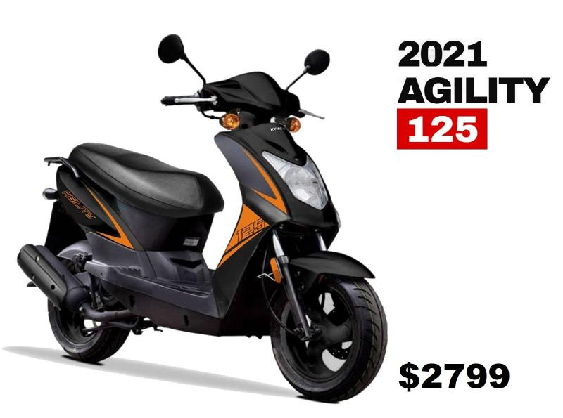 2021 Top Quality KYMCO AGILITY 125 Scooter 50 MPH-79 MPG Black & Orange