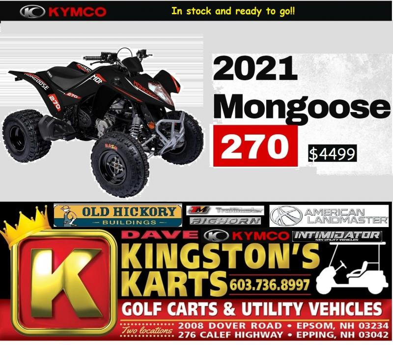 New KYMCO Mongoose 270 Sport Performance ATV w/Reverse ages 14+ Black