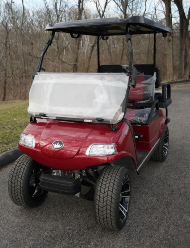 "New Evolution Classic 4 ""PLUS"" STREET LEGAL 25MPH golf car CANDY APPLE RED"