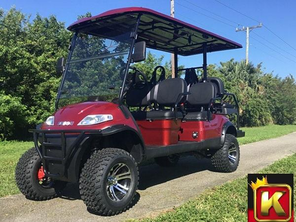 2021 Advanced EV LUXURY 48 Volt 6 PASS LIFTED golf cart limo-Burgundy w/Camel Seats  (compare to ICON i60L)