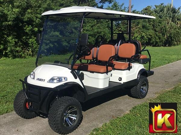 2021 Advanced EV LUXURY 48 Volt 6 PASS LIFTED golf cart limo-White  (compare to ICON i60L)