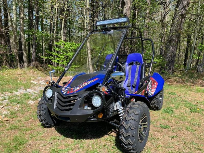 NEW Trailmaster Blazer 200-EXGo Kart Teen-Adult 43MPH REVERSE-Blue